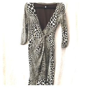 Cream and brown print faux wrap long sleeved dress